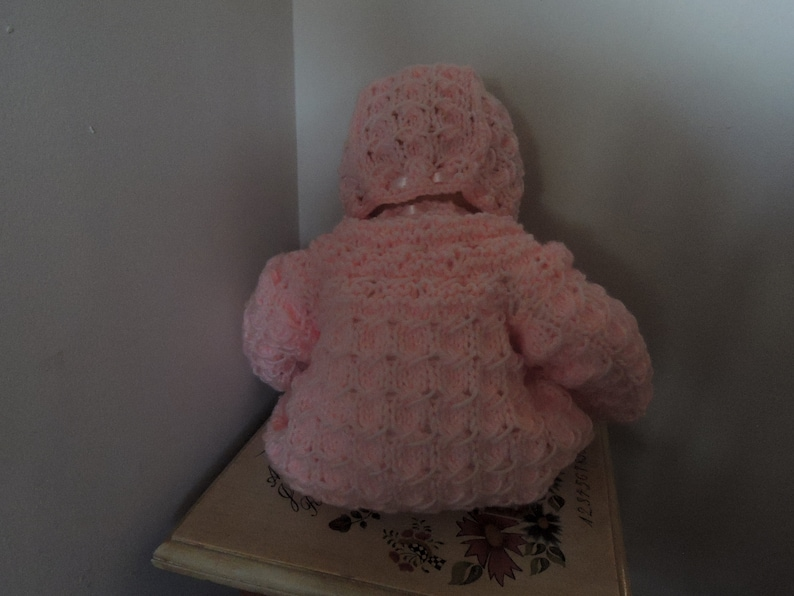 Pink Baby Sweater and Bonnet