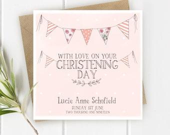 Personalised Blue Naming Day Bunting Card Boy Naming Day Card