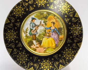 Vintage Round Tin French Courting Scene Atlantic Can Delawanna NJ