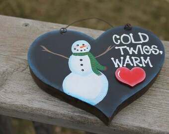 Cold Twigs, Warm Heart - Wooden Heart Hanging Decoration