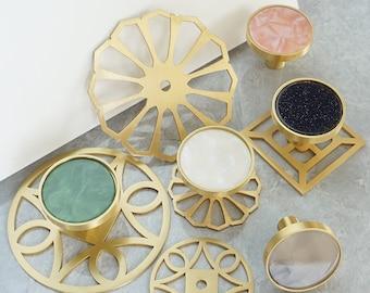 Colorful Cabinet Door Knob Brass Knob Plate  Drawer Knobs Pulls Handles Dresser Knob Cabinet Knobs Kitchen Knobs Round Knob