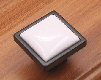 Ceramic Knobs Black Knobs Cabinet Hardware /Cabinet Knobs Knob Handles / Rustic  Cabinet Pulls Drawer Knobs Rustic Furniture
