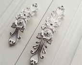 3.78 quot 5 39 Shabby Chic Dresser Drawer Pulls Handles Off White Silver French Country Kitchen Cabinet Handle Pull Antique Furniture Hardware