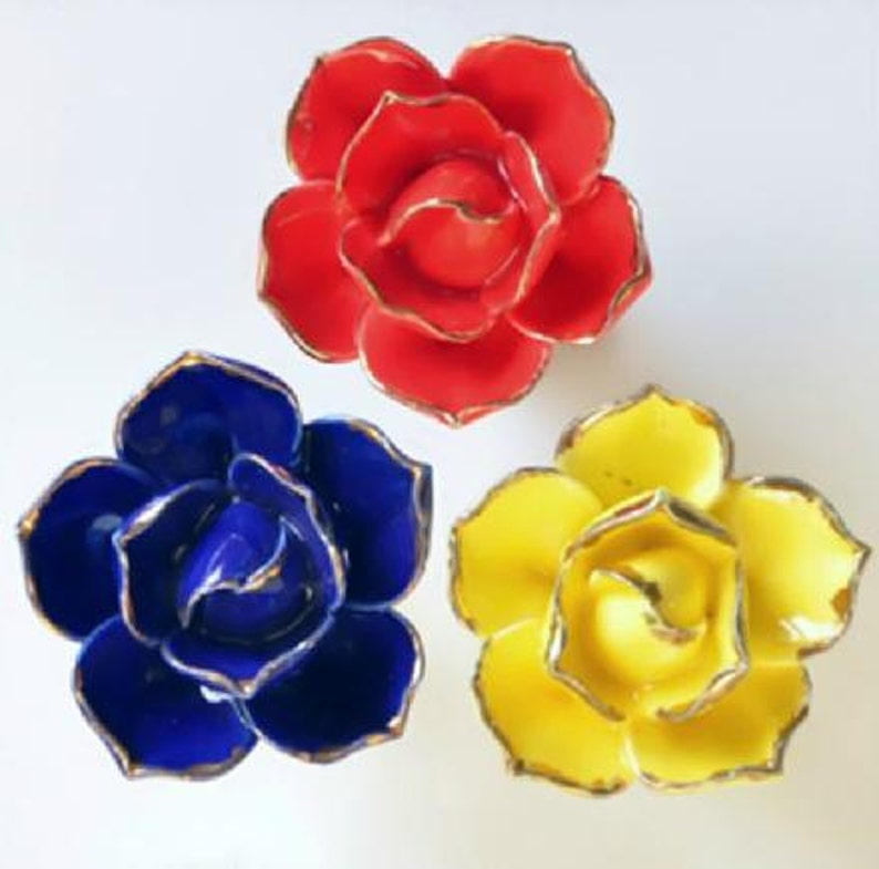 Handmade Lotus Flower Knobs Dresser Knobs  Ceramic Drawer Knobs Pulls Handles  Unique Cabinet Knobs Pull Handle Hardware