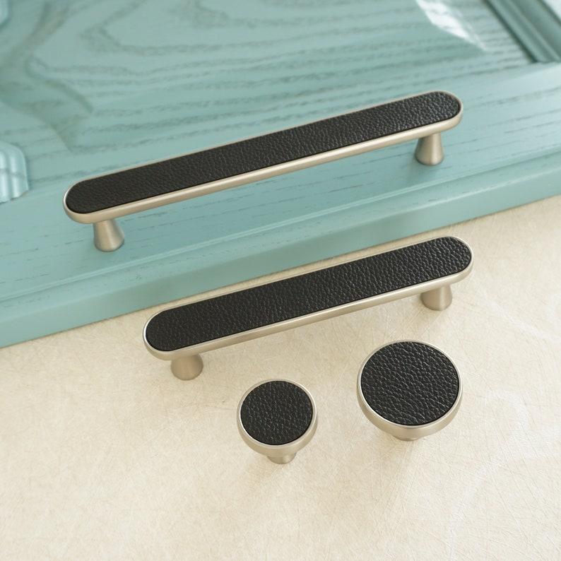 3.78 5 Black Leather Drawer Pulls Handles Brushed Nickel  Kitchen Cabinet Door Handle Modern Dresser Knobs Closet Wardrobe Handles  Decor