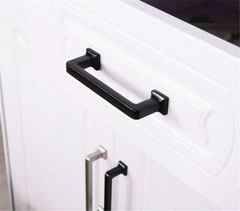 3.78 5 6.3 7.55/'/' 8.8 12.6 Black Cabinet Handles Brushed Steel Dresser Drawer Knobs Pulls Cupboard Handles Kitchen Pulls 224 320mm