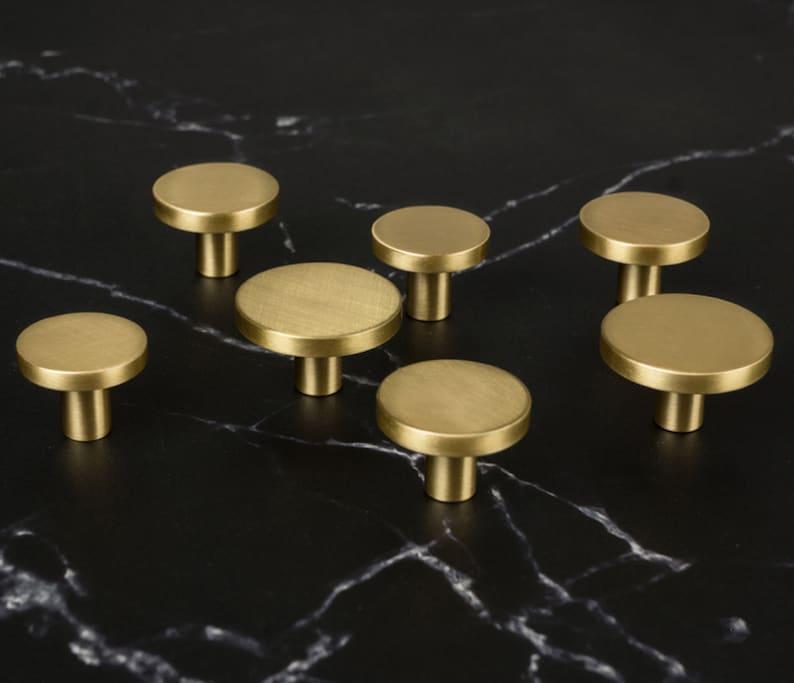 Round Brass Cabinet Knob Handles Drawer Pull and Knobs Handles Kitchen cupboard Knobs Furniture Hardware