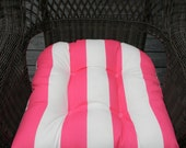 Indoor Outdoor Universal Wicker Chair Cushion - Pink and White Stripe