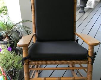 Indoor / Outdoor Solid Black Rocking Chair 2 PC Foam Cushion Set ~ Fits  Cracker Barrel Rocker
