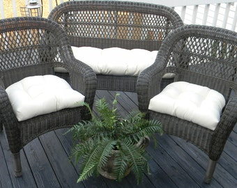 Ivory Cream Natural Solid Fabric Cushions For Wicker Loveseat Settee U0026 2  Matching Chair Cushions