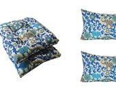 Set of 2 - Tufted U-shape Wicker Chair Cushions 2 Free Pillows - Blue Bohemian