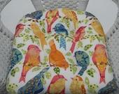 Indoor Outdoor 19 quot x quot 19 Tufted Wicker Style U - Shape Seat Chair Patio Cushion White Pink Blue Green Yellow Garden Bird Birdss