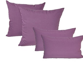 """Set of 4 In/Outdoor Decorative Throw Pillows Solid Purple- 17"""" x 17"""" & 11"""" x 19"""""""