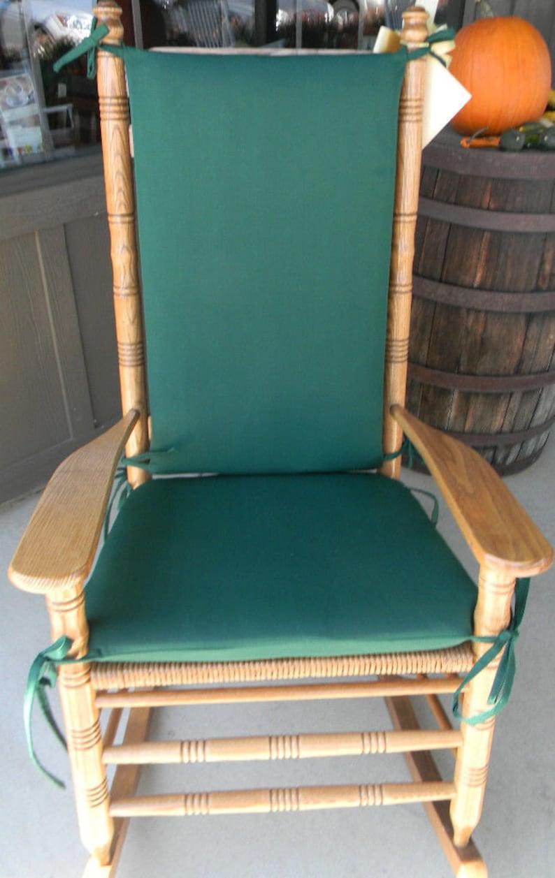 Sensational Indoor Outdoor Rocking Chair Cushions Fits Cracker Barrel Rocker Solid Hunter Dark Green Home Interior And Landscaping Palasignezvosmurscom