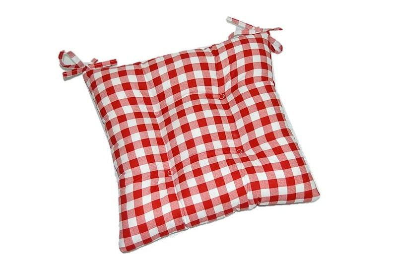 Indoor Cotton Red White Plaid Country Checkered Print Fabric Universal Tufted Cushion With Ties For Dining Kitchen Chair Choose Size