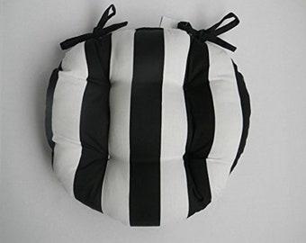 Universal Round Tufted Bistro Cushion w/ Ties - Black & White Stripe Fabric