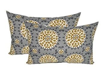 "Set of 2 11"" x 19"" Throw Pillows -Grey, Gold, Ivory Sundial - 11"" x 19"""