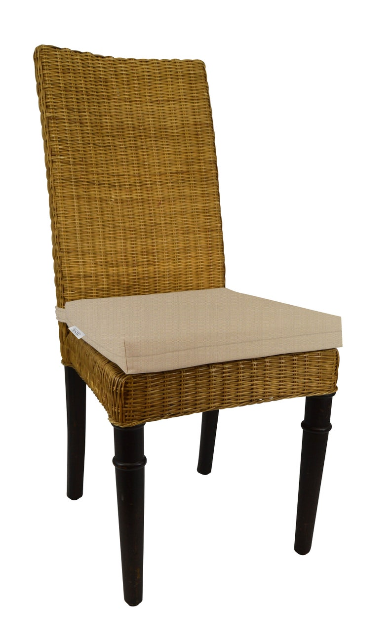 Indoor Outdoor Soho Rattan Wicker Banana Leaf Seagrass Parson Chair Trapezoid Foam Seat Cushion Made From Sunbrella Linen Antique Beige