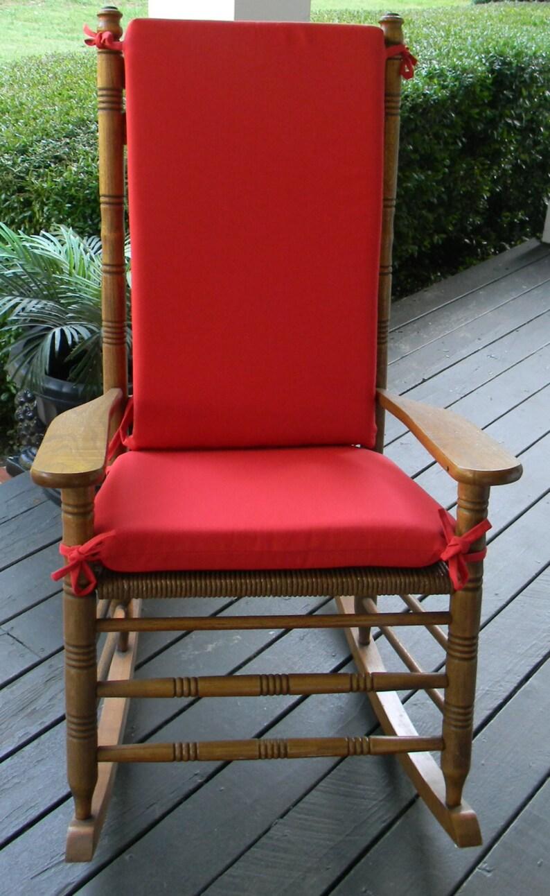 Fabulous Indoor Outdoor Solid Red Rocking Chair 2 Pc Foam Cushion Set Fits Cracker Barrel Rocker Interior Design Ideas Pimpapslepicentreinfo