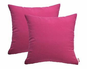 Set of 2 In/Outdoor Decorative Throw Pillows Sunbrella Hot Pink - Choose Size