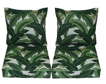 Set of 2 Deep Seating Furniture Chair Cushion - Green & White - Choose Size