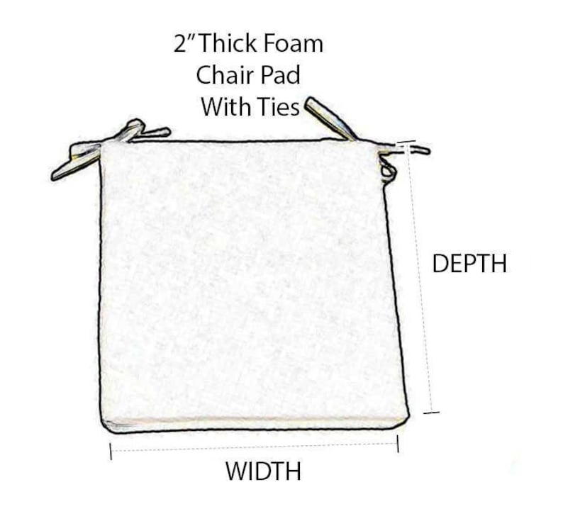 Choose Size RSH D\u00e9cor Set of 4 IndoorOutdoor Sunbrella Canvas Spa 2 Foam Seat Cushions with Ties for DiningPatio Chairs