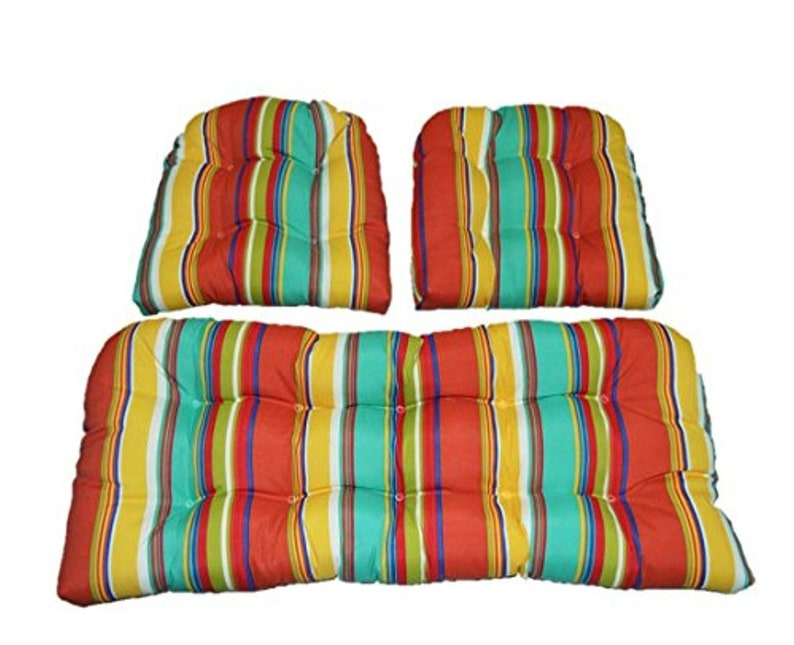 Indoor Outdoor Wicker Cushion Set Bright Turquoise Yellow Coral Stripe 1 Loveseat Cushion And 2 Chair Cushions