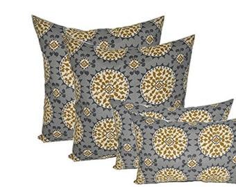 "Set of 4 Decorative Throw Pillows Grey, Gold, Ivory Sundial - 17""x17"" & 11""x19"""