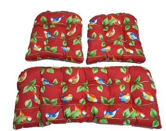 Berry Red Curious Birds   Yellow, Green, Blue, White Cushions For Wicker  Loveseat
