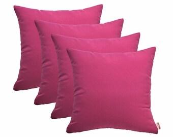 Set of 4 In/Outdoor Decorative Throw Pillows Sunbrella Hot Pink - Choose Size