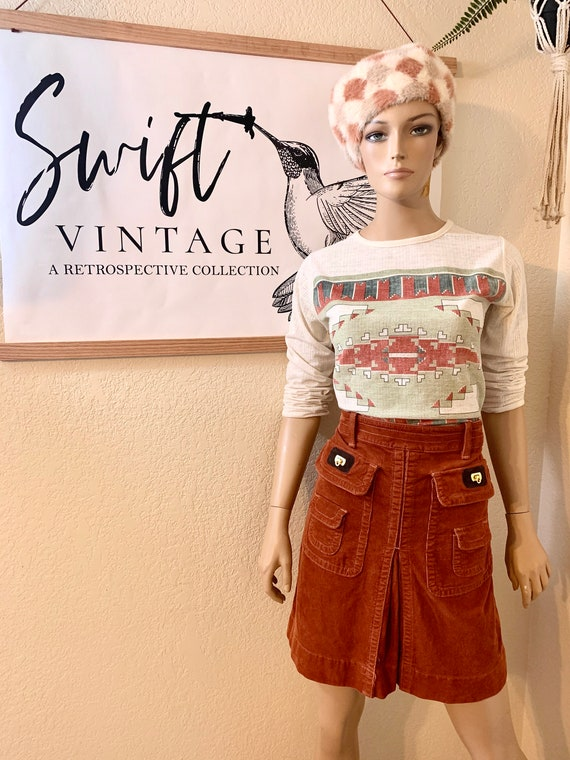 VTG-1970s-DITTOS-Pleated corduroy MINI skirt - image 1