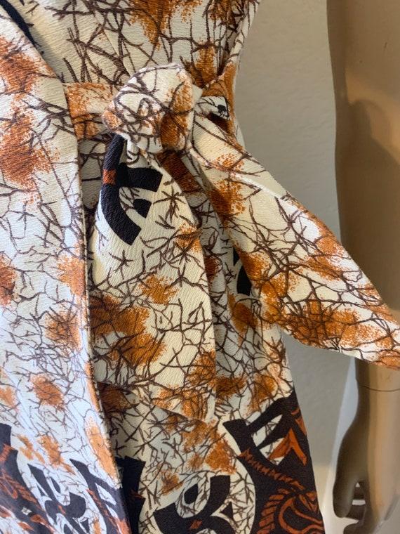 VTG-1960s-BARKCLOTH-wrap dress-Hawaiian - image 4