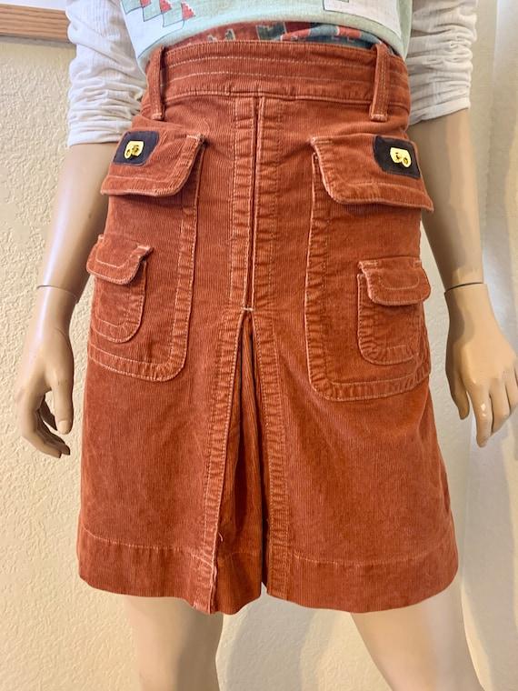VTG-1970s-DITTOS-Pleated corduroy MINI skirt - image 2