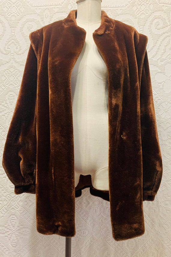 Vintage-80s-Jordache-faux fur coat-puff sleeves