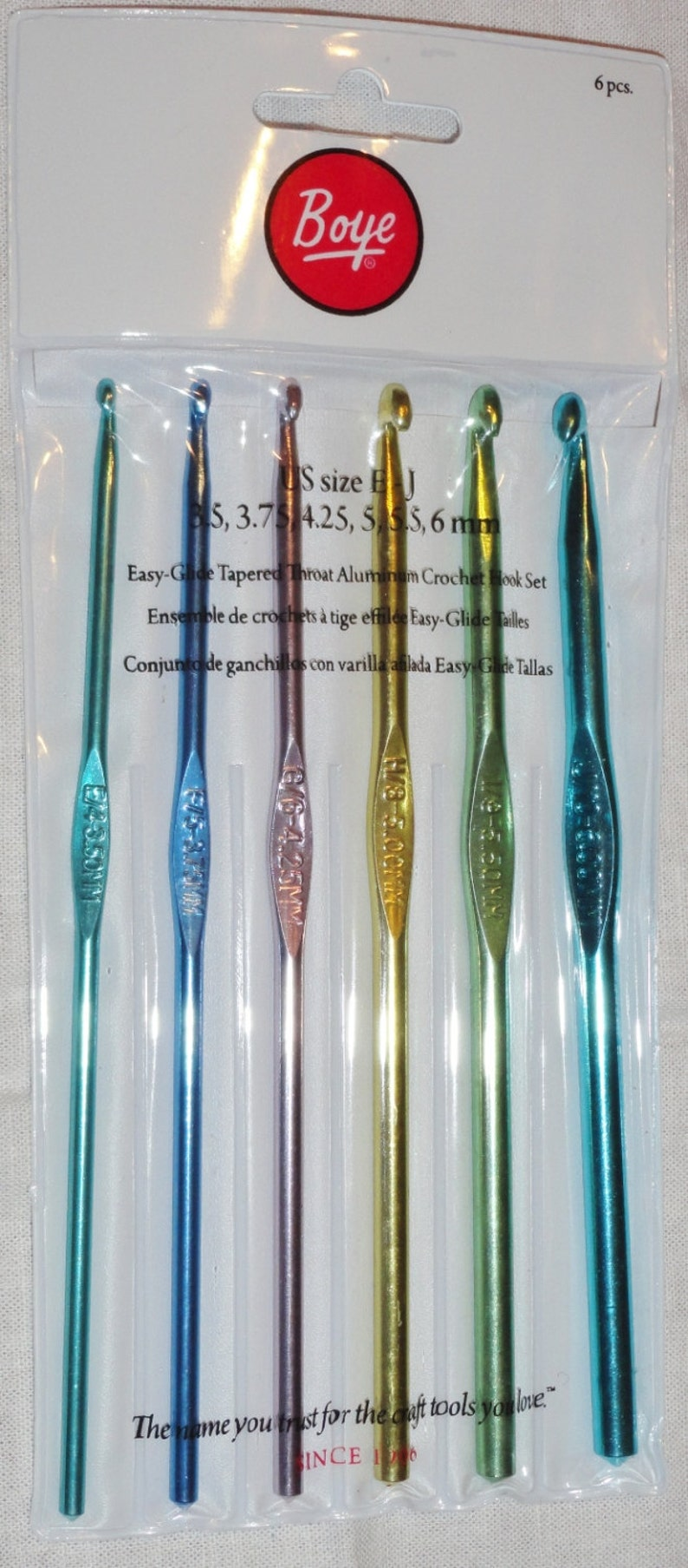 Crochet Hook Set Of 6 Sizes E J 35 60 Mm Boye Easy Glide Etsy