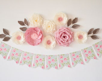 Paper flower wall etsy paper flowers wall decor nursery flowers wall flowers paper flowers backdrop baby shower decoration nursery wall flowers nursery decor mightylinksfo