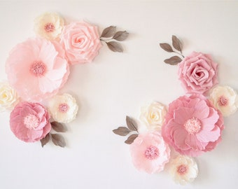 Nursery Decor, Paper Flowers Wall Decor, Nursery Flowers, Wall Flowers,  Paper Flowers Backdrop, Baby Shower Decoration, Nursery Wall Flowers