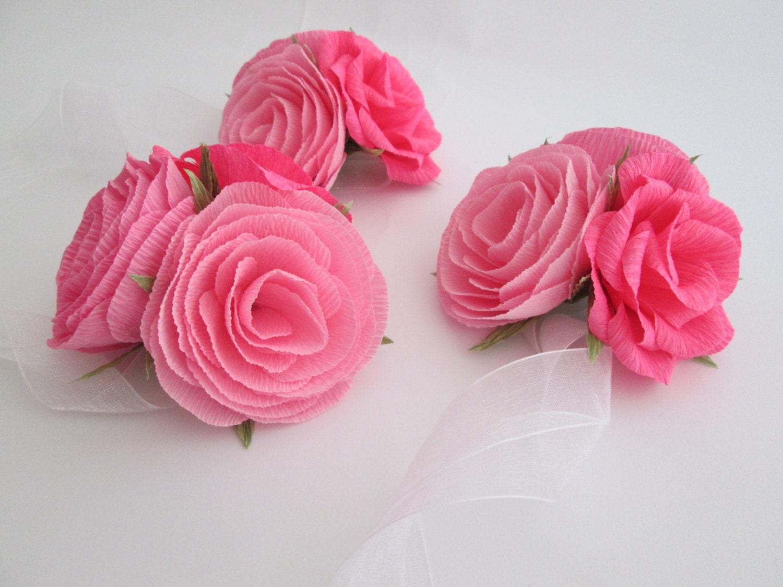 Paper Flower Corsage Wrist Corsage Wedding Corsage Bridal Etsy