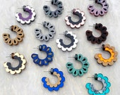 Scalloped Hoop Earrings - Glitter Marble Mirror Acrylic - Chunky Hoops - Reversible Hoop Earrings - Acrylic Perspex Laser Cut Jewellery