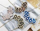 Teardrop Fan Mini Bib Necklace   Laser Cut Engraved Glitter Marble Acrylic Perspex   Tortoiseshell Blue Rose Gold Silver   Geometric Deco