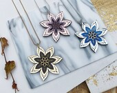 Star Flower Large Pendant Necklace | Floral Necklace | Laser Cut Engraved Glitter Marble Acrylic Perspex