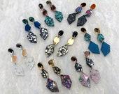 Triple Geo Drop Earrings | Chunky Glitter Dangles | Geometric Acrylic Perspex Jewellery | Multicoloured Rainbow Pentagon Statement Earrings