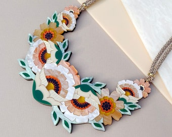 Isobel Floral Statement Necklace: Caramel Colourway | Laser Cut Flower Necklace | Retro Floral Jewellery