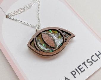 SAMPLE SALE: Laser Cut & Resin Cat Eye Pendant in Wood, Cream, Iridescent and Silver Leaf | Laser Cut Acrylic Perspex