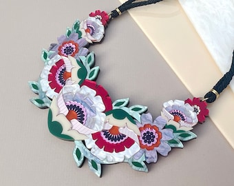 Isobel Floral Statement Necklace: Sunset Colourway | Laser Cut Flower Necklace | Retro Floral Jewellery