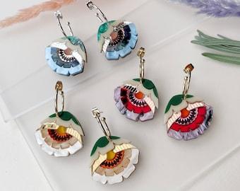 Isobel Floral Hoop Earrings | Retro Flower Hoop Earrings | Laser Cut Floral Jewellery