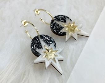 Star Deco Hoop Earrings: Black Glitter | Laser Cut Star Earrings | Celestial Art Deco