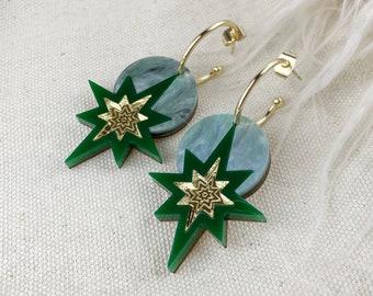 Star Deco Hoop Earrings: Mint Green Marble | Laser Cut Star Earrings | Celestial Art Deco