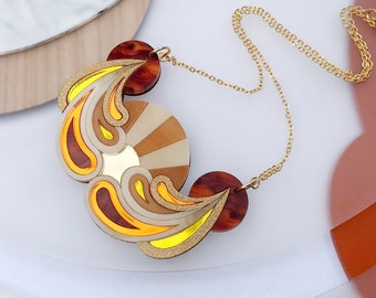 Psychedelic Sunset Bib Necklace | Laser Cut Bib Necklace in Sunshine Colourway