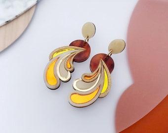 Psychedelic Wave Drop Earrings | Laser Cut Retro Statement Earrings in Sunshine Colourway